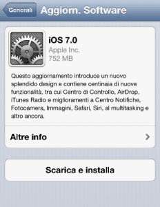 Download e aggiornamento iOS 7