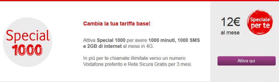 Attivazione Vodafone Special 1000