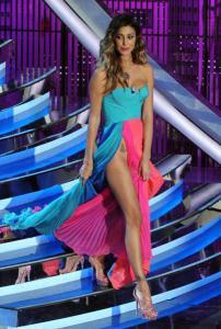 Belen Sanremo 2012, abito Fausto Puglisi con Cstring