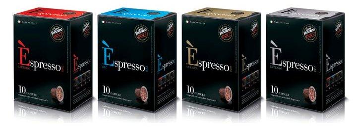 Caffè Éspresso Vergnano nei gusti Cremoso, Dec , Arabica e Intenso