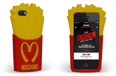 Cover iPhon Moschino con patatine fritte McDonalds