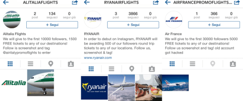 Falsi account Instagram Alitalia Ryanair e Air France