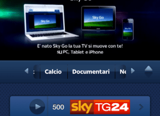 Sky Go, streaming iPhone