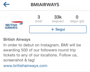 Falso account Instagram British Airways