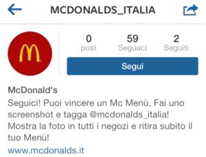 Falso account Instagram McDonald's Italia