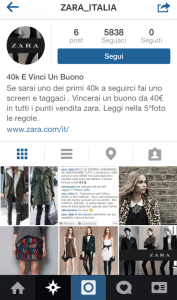 Falso account Instagram Zara Italia