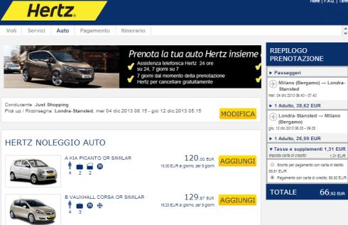Noleggio auto con Hertz sul sito Ryanair