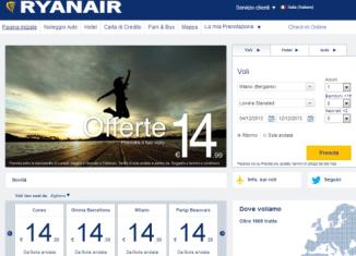 Nuovo sito Ryanair
