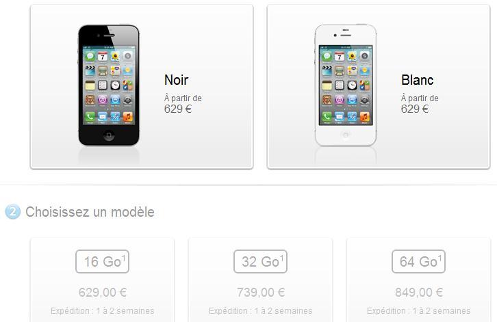 Prezzi iPhone 4S, Francia
