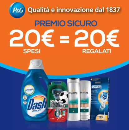 Promozione P&G 20 euro spesi 20 euro regalati