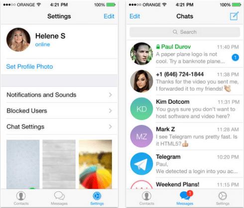 Telegram per iPhone