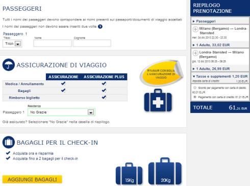Terzo passaggio prenotazione Ryanair